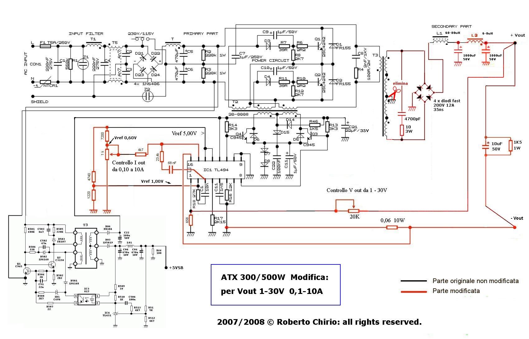 Схема блок питания из компьютерного блока питания